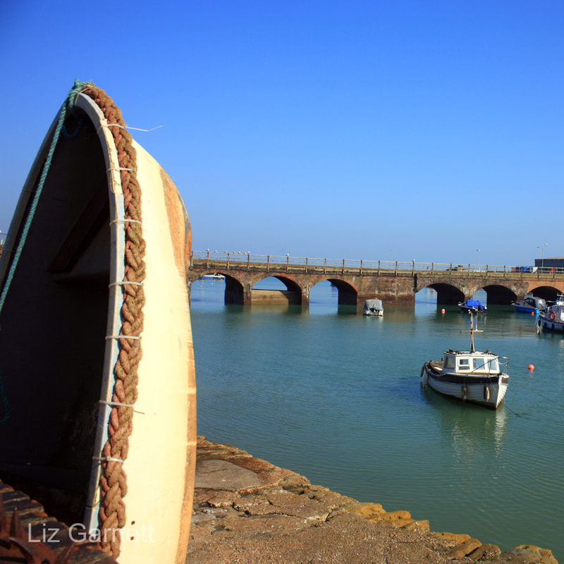 View of Folkestone harbour and the old railway bridge by Liz Garnett