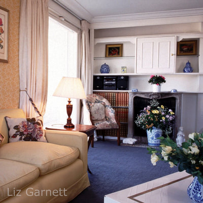 Professional interiors photograph of a sitting room in a Paris apartment by Liz Garnett